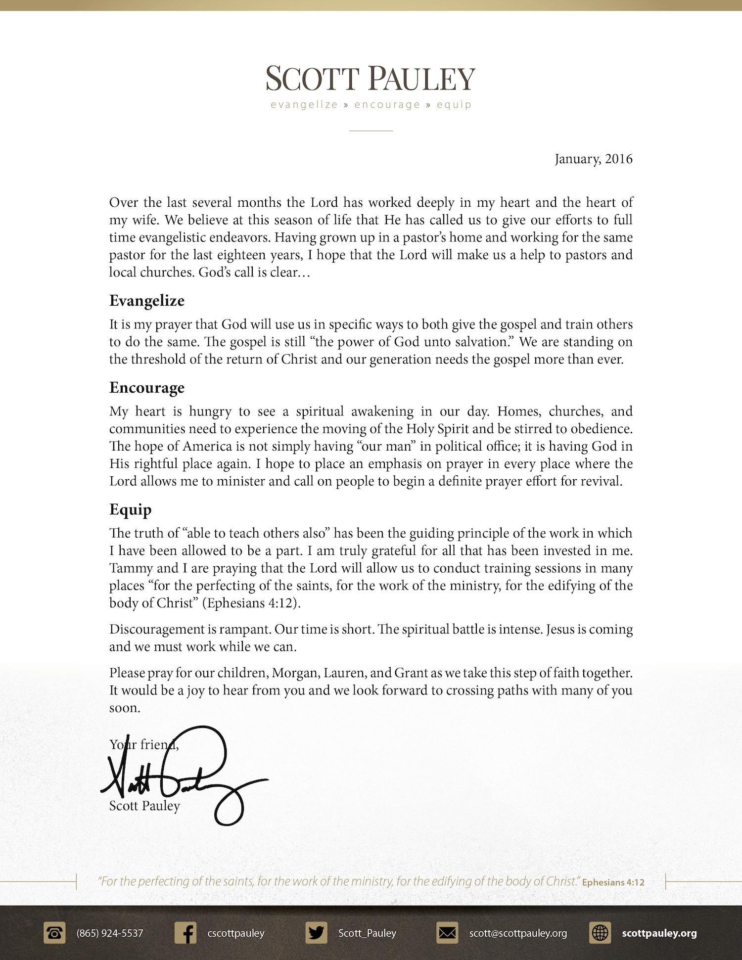 Open Letter from Scott Pauley